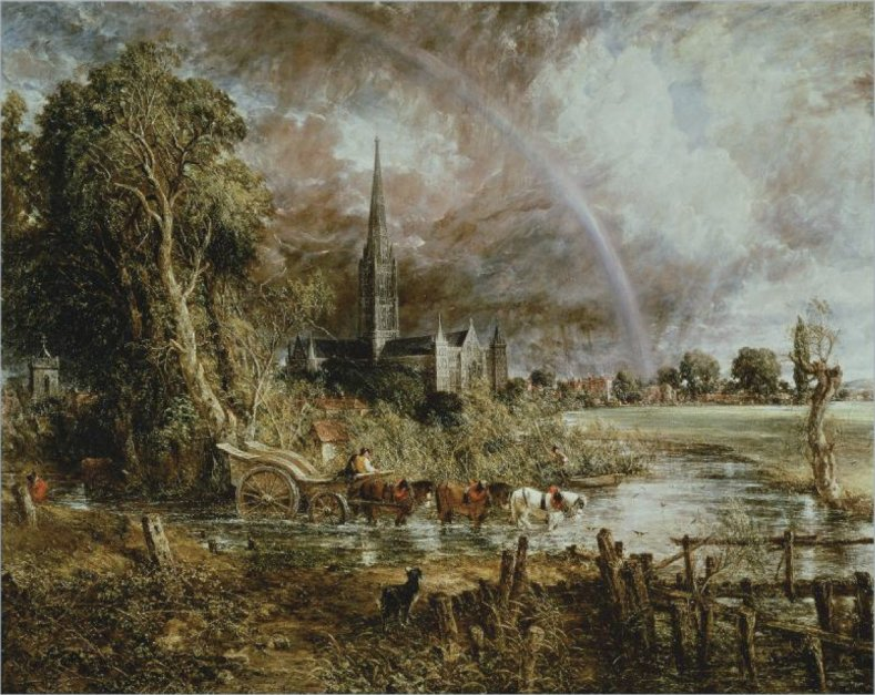 Salisbury Cathedral from the Meadows. John Constable.